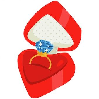 Diamant-verlobungsring in roter box. karikaturillustration lokalisiert auf weiß.