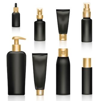 Diamant-werbungsillustration des kosmetischen realistischen schablonenproduktpaketgoldes 3d.