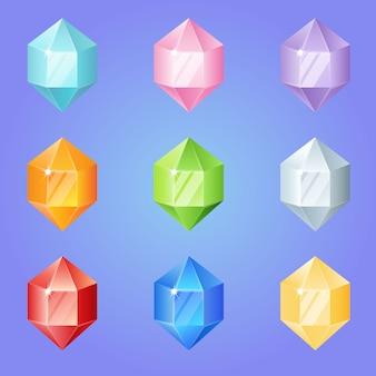 Diamanten in sechseckform setzen 9 farben für 3 match-spiele.