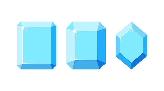 Diamanten mit verschiedenen facetten set aus quadratischen und sechseckigen diamantkristallen mit draufsicht