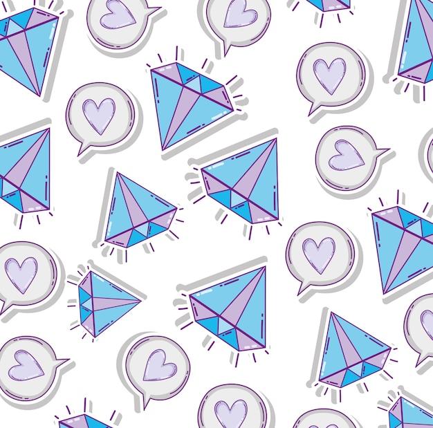 Diamanten und herzmusterhintergrundvektor-illustrationsgrafikdesign