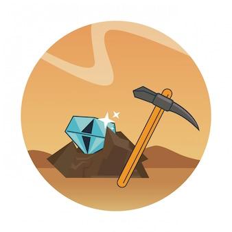 Diamantenabbau und pick