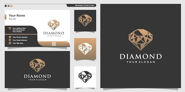 Diamantlogo mit abstraktem luxusstil und visitenkartendesignschablone premium-vektor