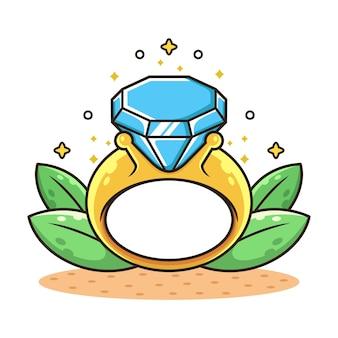 Diamantring mit blattkarikaturillustration. verlobungskonzept isoliert auf weiß