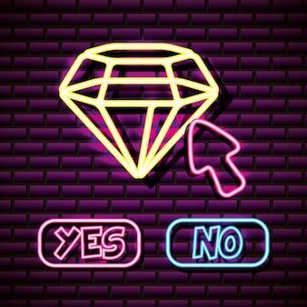 Diamon und mauszeiger in neon-stil, videospiele im zusammenhang
