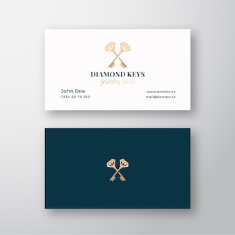 Diamond keys juweliergeschäft. abstraktes zeichen, symbol oder logo logo und visitenkarte