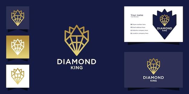 Diamond king logo mit goldenem farbverlauf
