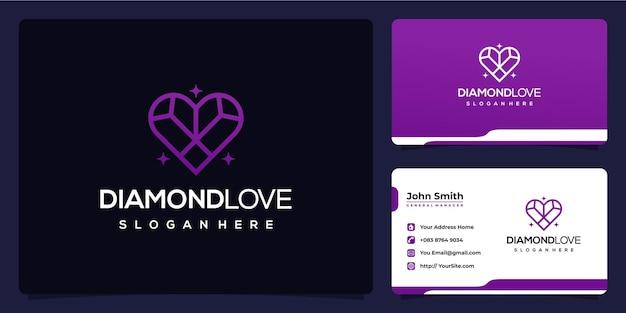 Diamond love monoline feminines logo-design und visitenkarte