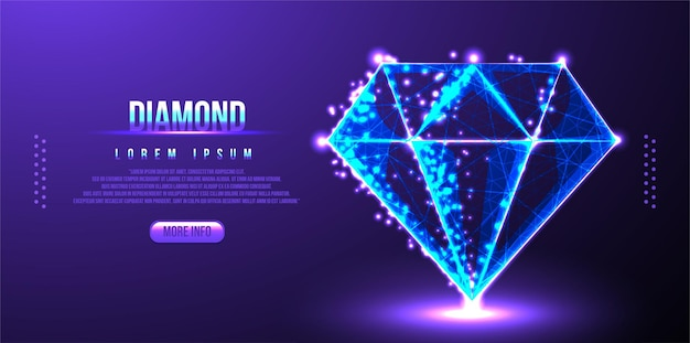 Diamond low-poly-drahtmodell