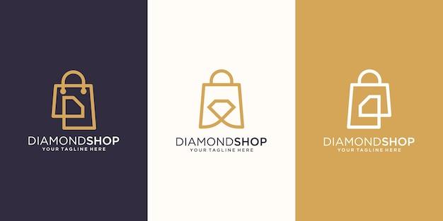 Diamond shop, tasche kombiniert mit brillantem konzept logo designs vorlage,
