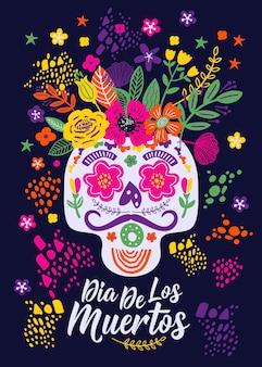 Dias de los muertos. blumen traditioneller mexikanischer rahmen mit blumenbuchstaben auf dunkelheit