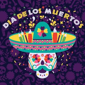 Dias de los muertos mit einem schädel in einem sombrero. fest des todes, traditionelles mexikanisches festival.