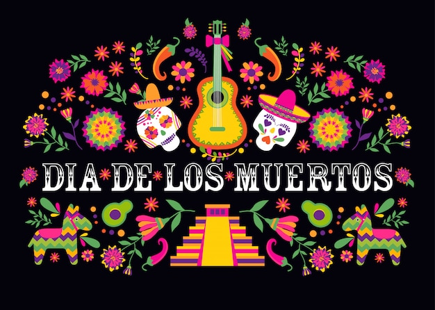 Dias de los muertos typografie. mexiko design. traditioneller mexikanischer rahmen mit blumenbuchstaben