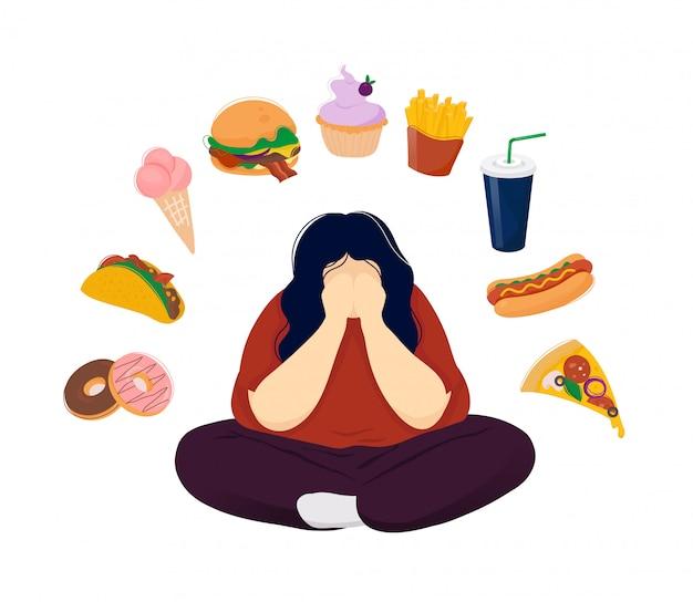 Dicke frau in der depression, umgeben von fast food