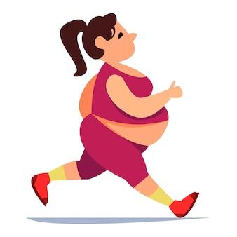 Dicke frau treibt sport in engen leggings und einem t-shirt morgenlauf