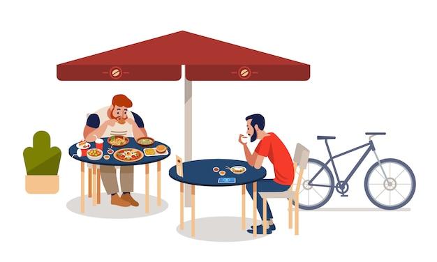 Dicke männer und sportler sitzen an tischen und essen verschiedene köstliche mahlzeiten.
