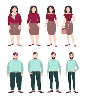 Dicke und schlanke menschen. konzept zur gewichtsabnahme. frau und mannfigur. bunte flache abbildung.