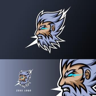 Dicker bartschnurrbart der zeusgott-blitzmaskottchensportspielesport-logo-schablone für kaderteamverein