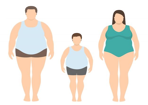 Dicker mann, frau und kind im flachen stil. übergewichtige familie.