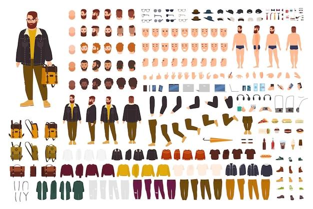 Dicker mann-kreation-set oder diy-kit. sammlung flacher zeichentrickfigur-körperteile, gesichtsausdrücke, trendige hipster-kleidung einzeln auf weißem hintergrund. vorder-, seiten-, rückansicht. vektor-illustration.