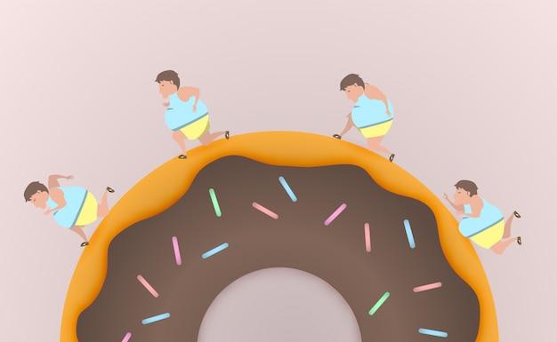 Dicker mann laufen auf donut und geben niemals vektor-illustration auf