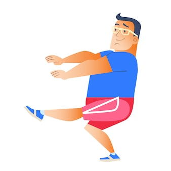 Dicker mann spielt sport