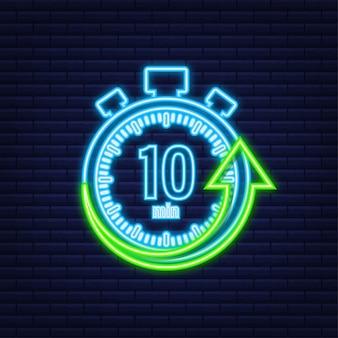 Die 10 minuten, stoppuhr-vektor-neon-symbol. stoppuhr-symbol im flachen stil, timer auf farbigem hintergrund. vektor-illustration.