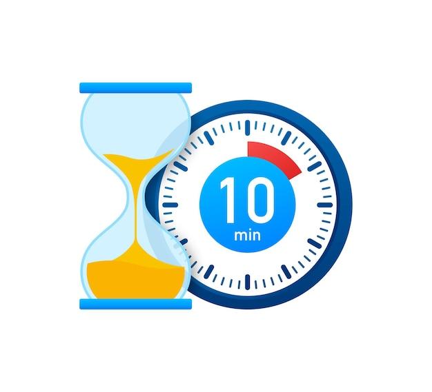 Die 10 minuten, stoppuhr-vektorsymbol. stoppuhr-symbol im flachen stil, 10-minuten-timer auf farbigem hintergrund. vektorgrafik auf lager.