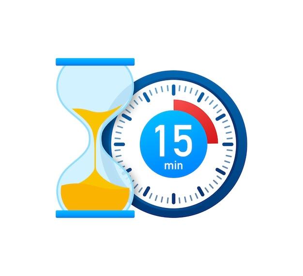 Die 15 minuten, stoppuhr-vektorsymbol. stoppuhr-symbol im flachen stil, timer auf farbigem hintergrund. vektor-illustration.