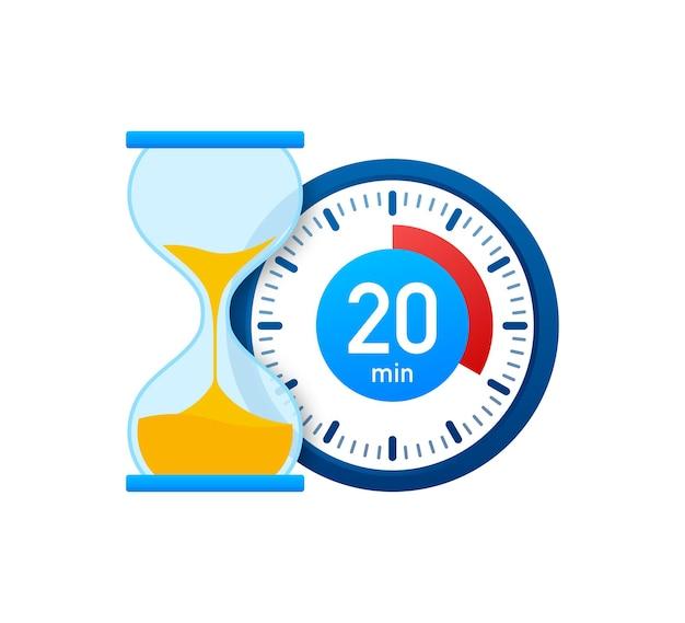 Die 20 minuten, stoppuhr-vektorsymbol. stoppuhr-symbol im flachen stil, timer auf farbigem hintergrund. vektor-illustration.