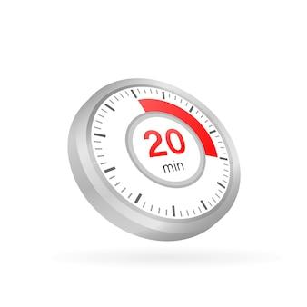 Die 20 minuten, stoppuhr-vektorsymbol