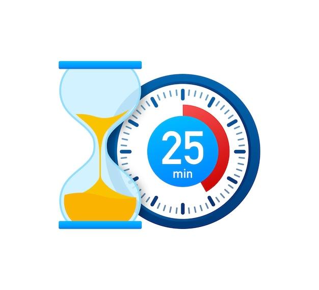 Die 25 minuten, stoppuhr-vektorsymbol. stoppuhr-symbol im flachen stil, timer auf farbigem hintergrund. vektor-illustration.