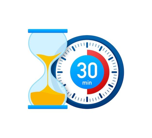Die 30 minuten, stoppuhr-vektorsymbol. stoppuhr-symbol im flachen stil, timer auf farbigem hintergrund. vektor-illustration.