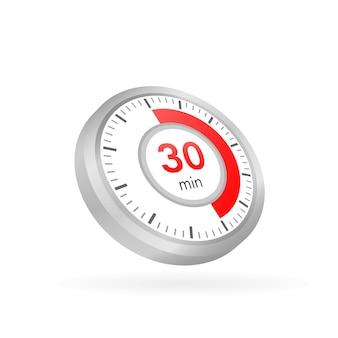Die 30 minuten, stoppuhr-vektorsymbol