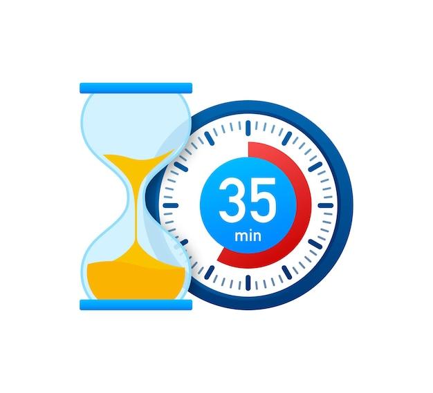 Die 35 minuten, stoppuhr-vektorsymbol. stoppuhr-symbol im flachen stil, timer auf farbigem hintergrund. vektor-illustration.
