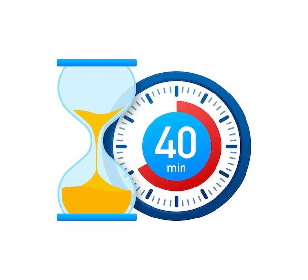 Die 40 minuten, stoppuhr-vektorsymbol. stoppuhr-symbol im flachen stil, timer auf farbigem hintergrund. vektor-illustration.