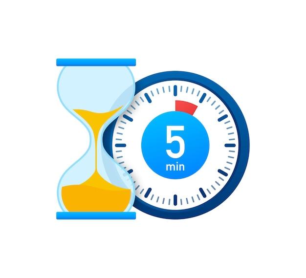 Die 5 minuten, stoppuhr-vektorsymbol. stoppuhr-symbol im flachen stil, timer auf farbigem hintergrund. vektor-illustration.