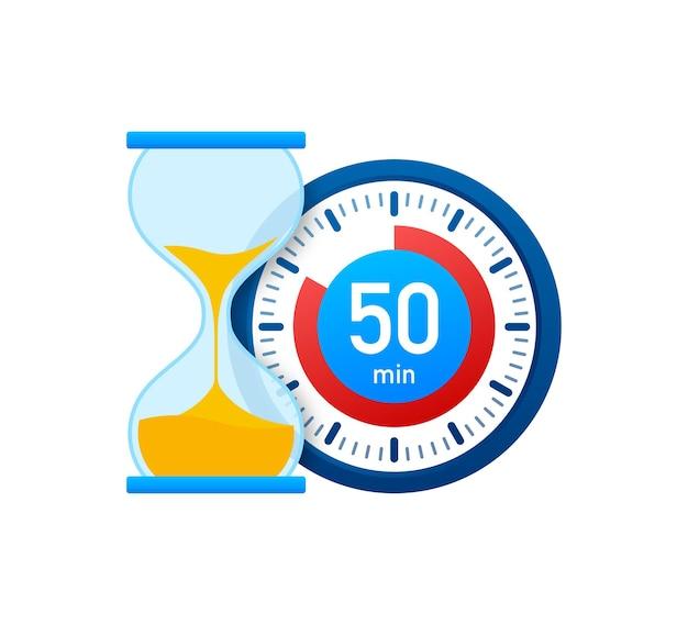 Die 50 minuten, stoppuhr-vektorsymbol. stoppuhr-symbol im flachen stil, timer auf farbigem hintergrund. vektor-illustration.