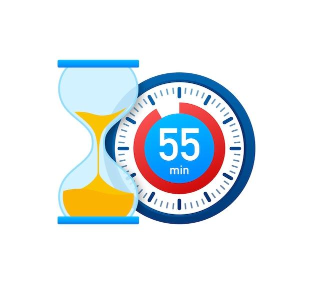 Die 55 minuten, stoppuhr-vektorsymbol. stoppuhr-symbol im flachen stil, timer auf farbigem hintergrund. vektor-illustration.