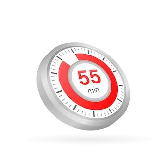 Die 55 minuten, stoppuhr-vektorsymbol