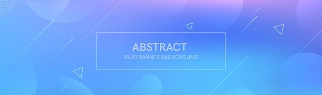 Die abstrakte fahne mit den steigungsformen und dem unschärfehintergrund mit hellen farben. die dynamische formkomposition.