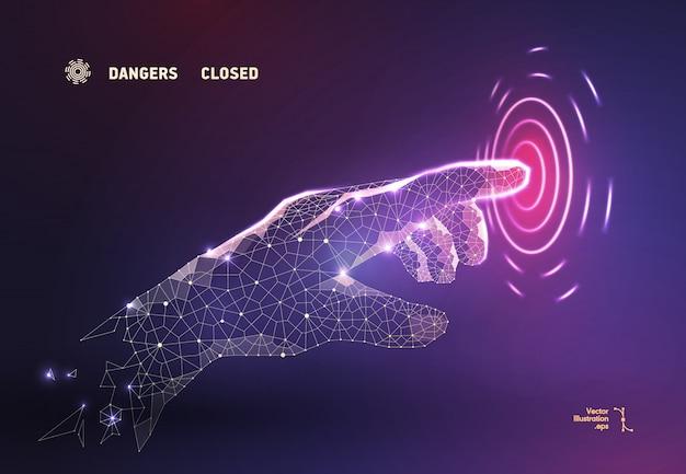 Die abstrakte fingerhand drückt den knopf auf dem polygonalen turm
