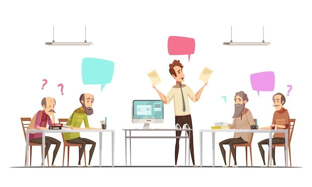 Die ältere bürgergruppe, die retro- karikaturplakat von sozialen entspannenden und pädagogischen gelegenheiten für ältere leute trifft, vector illustration