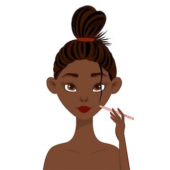 Die afrikanische schönheitsfrau zeichnet eine kontur mit einem bleistift auf ihrem gesicht. cartoon-stil.