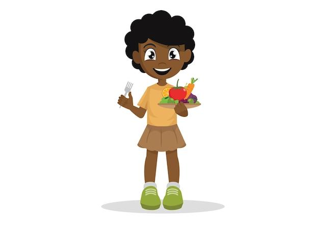 Die afrikanischen mädchen essen gerne gemüse und obst.