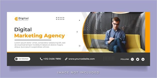 Die agentur für digitales marketing und das unternehmen facebook decken die post-banner-vorlage für soziale medien ab