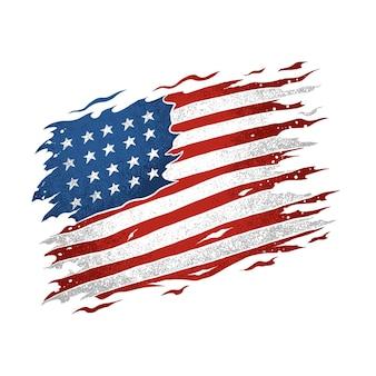 Die amerikanische flagge der vereinigten staaten ist zerrissen