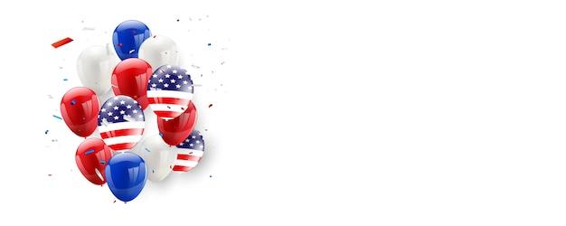 Die amerikanische flagge des werktagskartendesigns steigt hintergrund im ballon auf