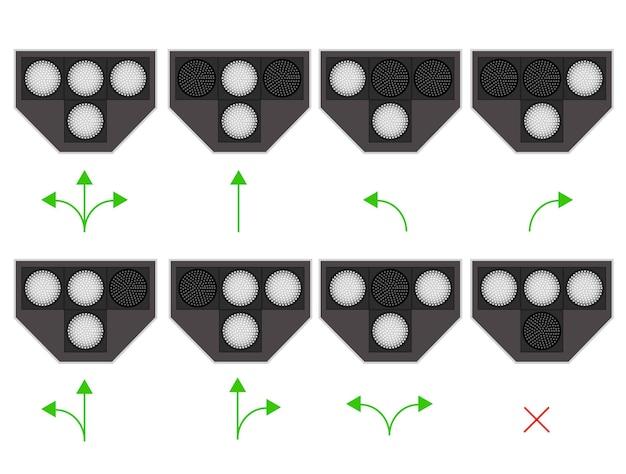 Die ampel für die straßenbahn. led-hintergrundbeleuchtung. weißes licht. die regeln der straße. die regeln der straßenbahnbewegung. vektor-illustration.