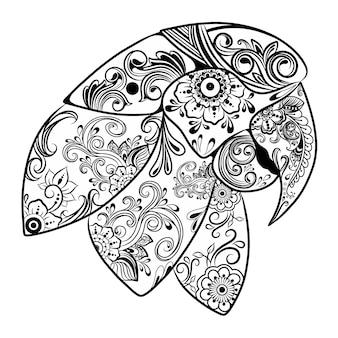 Die animation der schönen papageien mit blumenverzierung für die zeichnungsskizze